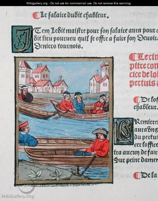 Ferrymen on the River Seine, from Ordonnances Royaux de la Juridiction de la Prevote des Marchands de la Ville de Paris, 1528 2 - Antoine Verard