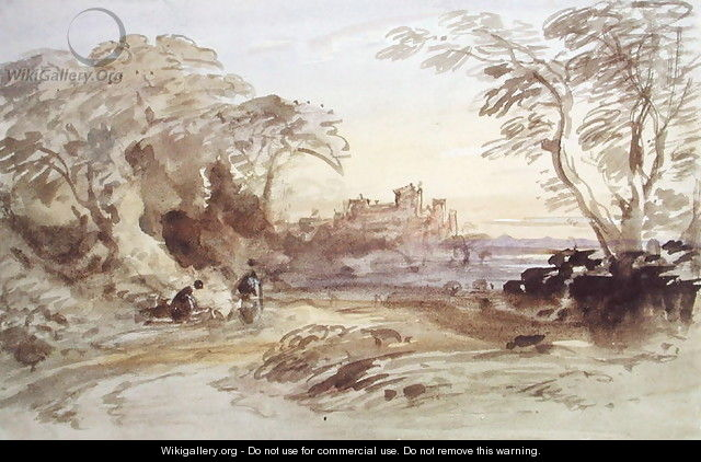 Landscape with Figures and Distant Castle - John Varley