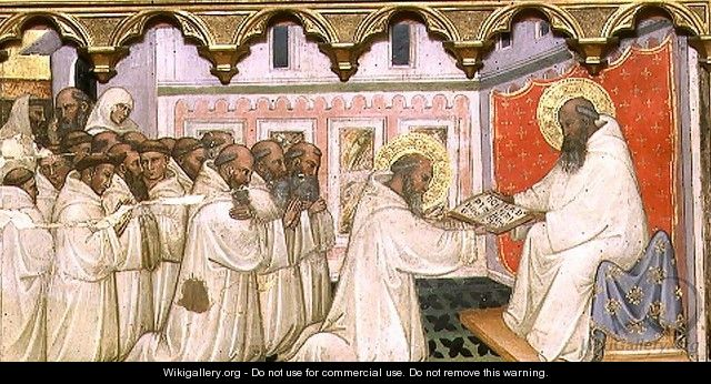 St. Benedict hands over the Rule of the New Order to the Monks of Monte Cassino - Turino Vanni