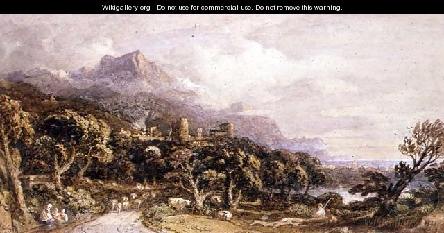 Landscape with castle and mountain 2 - John Varley