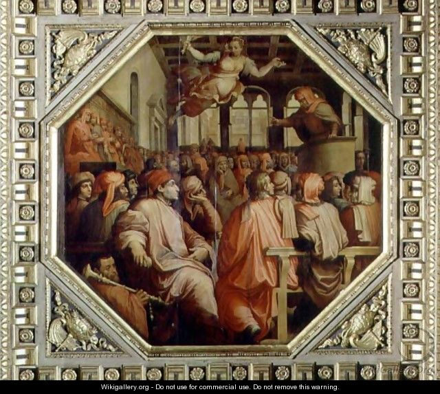 Prayer of Antonio Giacomini for the war with Pisa from the ceiling of the Salone dei Cinquecento, 1565 - Giorgio Vasari
