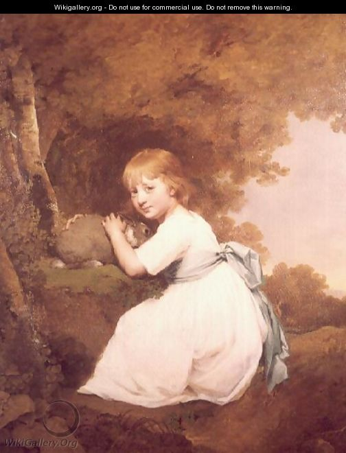 Miss Bentley in a white dress holding a rabbit - Josepf Wright Of Derby