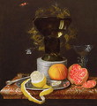 A Still Life with a Glass and Fruit on a Ledge - Wilhelm Ernst Wunder