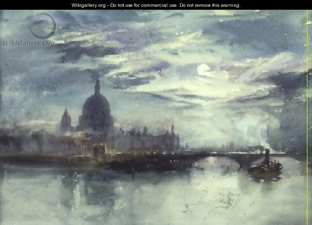 View of the Thames with St. Pauls in the Distance - Richard Henry Wright
