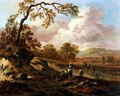 A Wooded River Landscape with Peasants on a Path - Jan Wynants