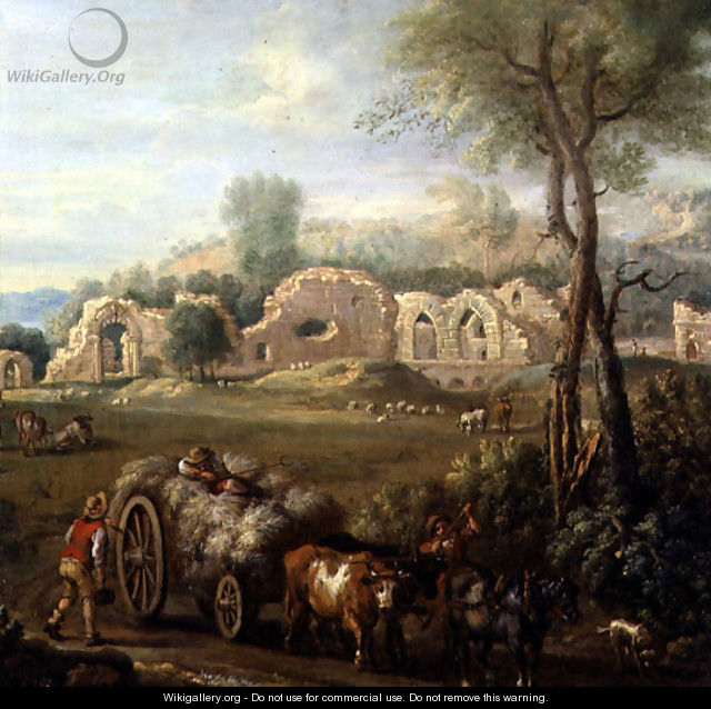 Haycart Passing a Ruined Abbey, c.1740-50 - John Wootton