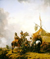 Soldiers carousing with a serving woman outside a tent - Philips Wouwerman