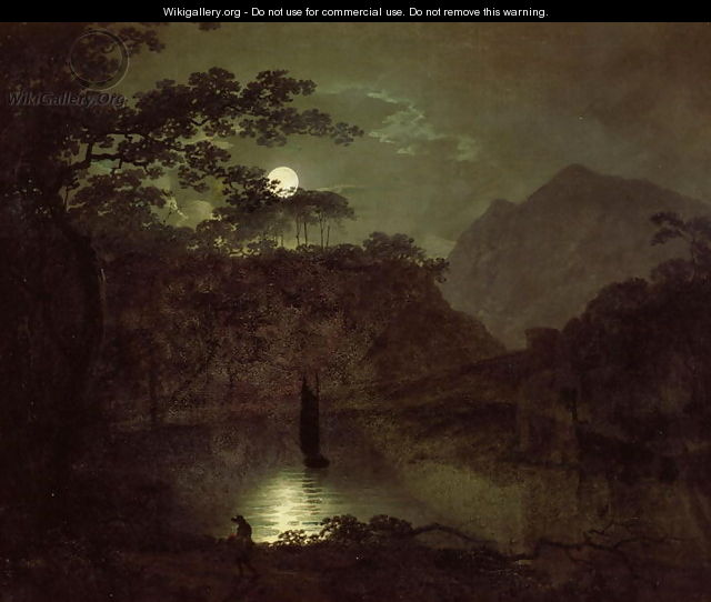 A Lake by Moonlight, c.1780-82 - Josepf Wright Of Derby