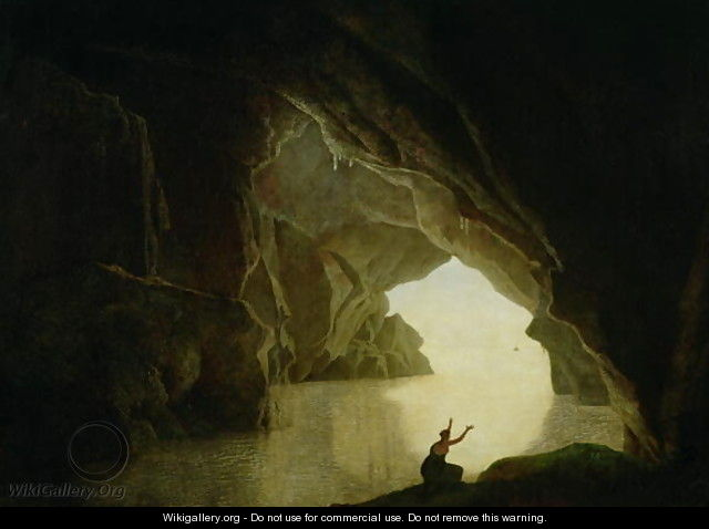 A Grotto in the Gulf of Salernum, with the figure of Julia, banished from Rome, exh. 1780 - Josepf Wright Of Derby