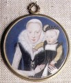 Portrait miniature of Lady Katherine Seymour, nee Grey c.1538-68 Countess of Hertford, holding her infant son and wearing her husbands miniature, c.1562 - Lievine Teerlink