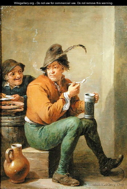 A Peasant holding a Stoneware Jug and a Clay Pipe - David III Teniers