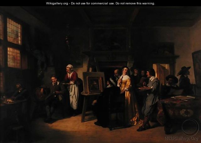 Rembrandt 1606-69 visiting the studio of Gabriel Metsu 1629-87 - Herman Frederick Carel Ten Kate