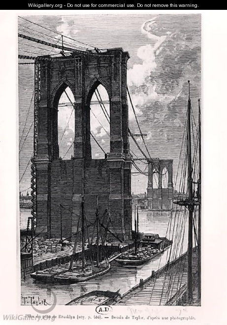 Brooklyn Bridge Under Construction, drawn after a photograph, 1878 - T. Taylor