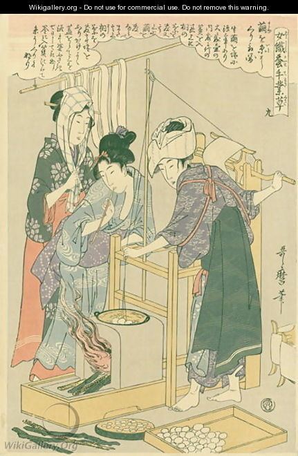 Winding the thread, no.9 from Joshoku kaiko tewaza-gusa, c.1800 - Kitagawa Utamaro