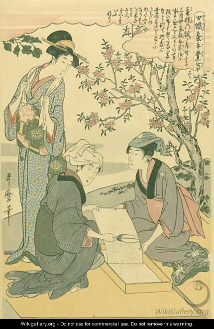 Tending the newly hatched worms, no.1 from Joshoku kaiko tewaza-gusa, c.1800 - Kitagawa Utamaro