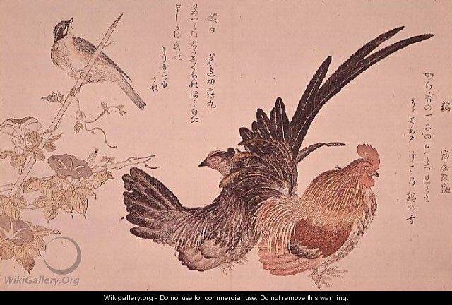 A domestic hen and cock and Japanese bunting on a bamboo shoot, c.1791 - Kitagawa Utamaro