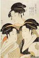 Three Beauties of the Present Day, Edo Period, Japan, c.1793, - Kitagawa Utamaro