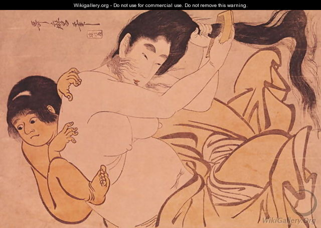 Yama-Uba, the Woman of the Mountain, with Kintoki, her Baby - Kitagawa Utamaro