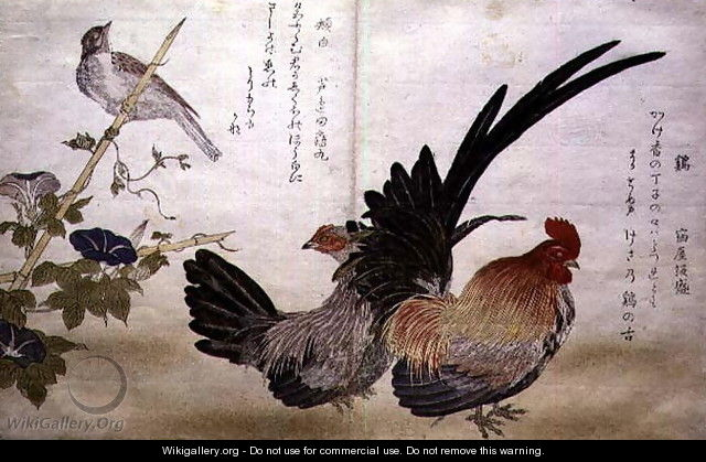 Cockerel and Hen on the right with a Bunting on the left, from an album Birds compared in Humorous Songs Momo Chidori Kyoka Awase, 1791 - Kitagawa Utamaro