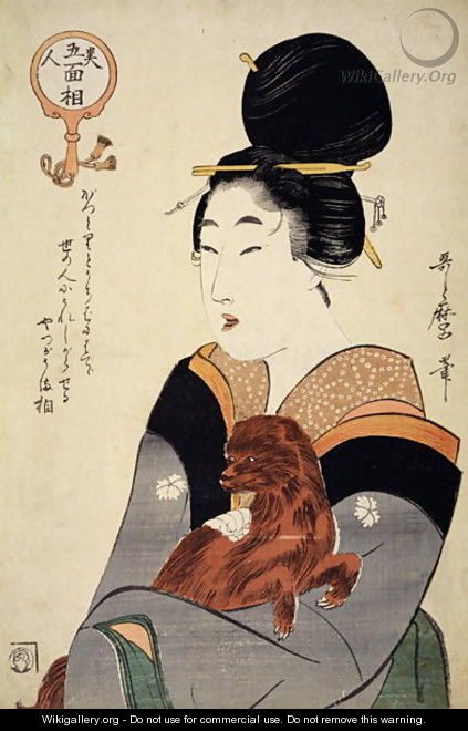A woman holding a dog in her arms, from Five physiognomies of Beauty, c.1804 - Kitagawa Utamaro