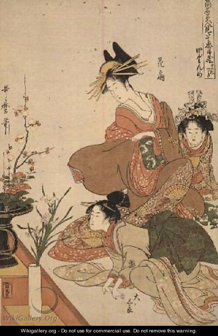 Scene 4, Comparison of celebrated beauties and the loyal league, c.1797 - Kitagawa Utamaro