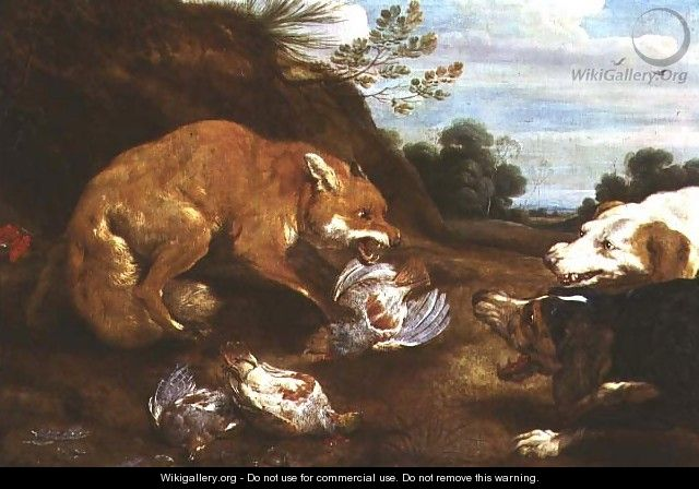 Fox and hounds fighting over partridges - Paul de Vos
