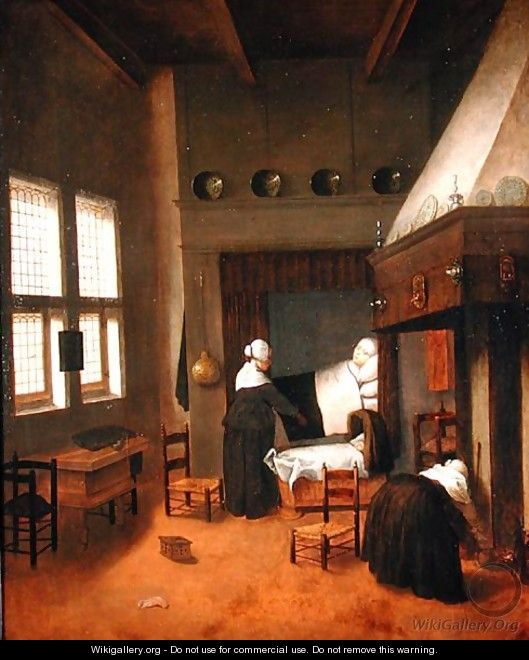 Bedroom Interior With Mother And New Born Child Jacobus