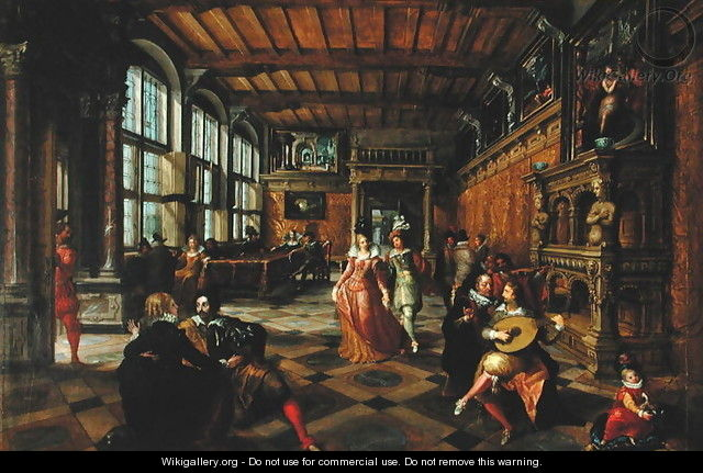 Scene of a Ball in a Flemish Interior - Hans Vredeman de Vries