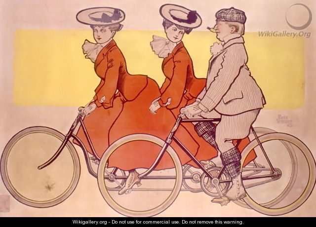 Man on a bicycle and women on a tandem, 1905 - Rene Vincent