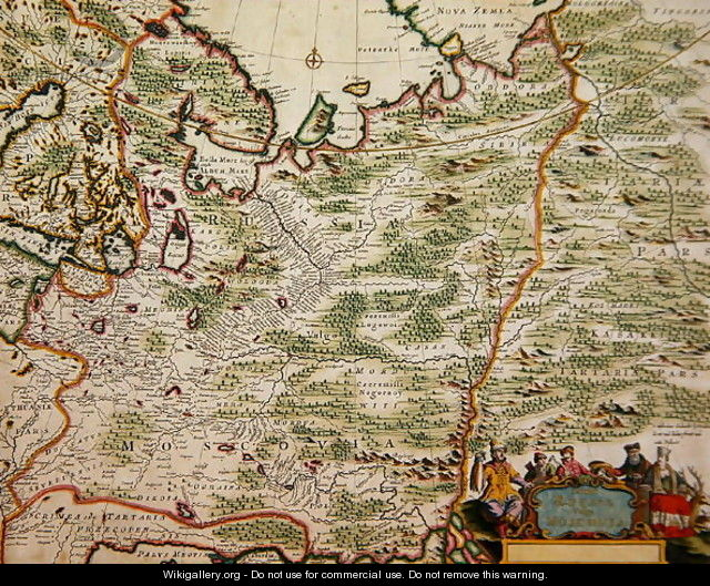 Map of Russia and Eastern Europe from Atlas Minor, 1745 - Nicolaes the Elder Visscher
