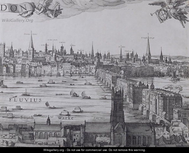 Panorama of London and the Thames, part three showing Southwark, London Bridge and the churches in the City, c.1600 - Nicolaes (Claes) Jansz Visscher