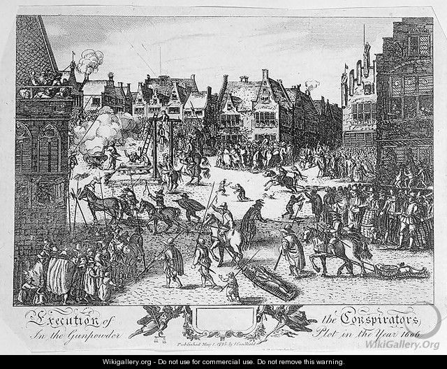 Execution of the Conspirators in the Gunpowder Plot in Old Palace Yard, Westminster, in 1606, 1795 - Nicolaes (Claes) Jansz Visscher