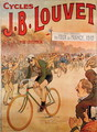 Poster advertising the cycles J.B. Louvet with an arrival of Tour de France 1912 - Raoul Vion