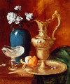 Still life of a gilt ewer, vase of flowers and a facon de Venise bowl - Antoine Vollon