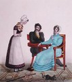 And above all else, be good, caricature of a couple talking to their maid before she leaves, c.1820-30 - Villain