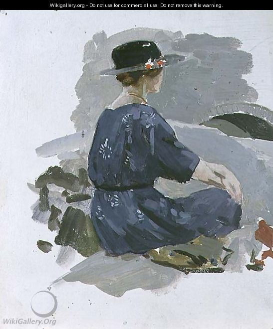 Woman in a blue dress and wide brimmed hat sitting upon rocks - Harry Watson