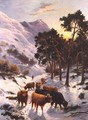Highland Cattle in a Winter Landscape - Charles Watson