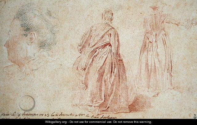 Rear View of Two Women and the Head of a Woman, 1723 - (after) Watteau, Jean Antoine