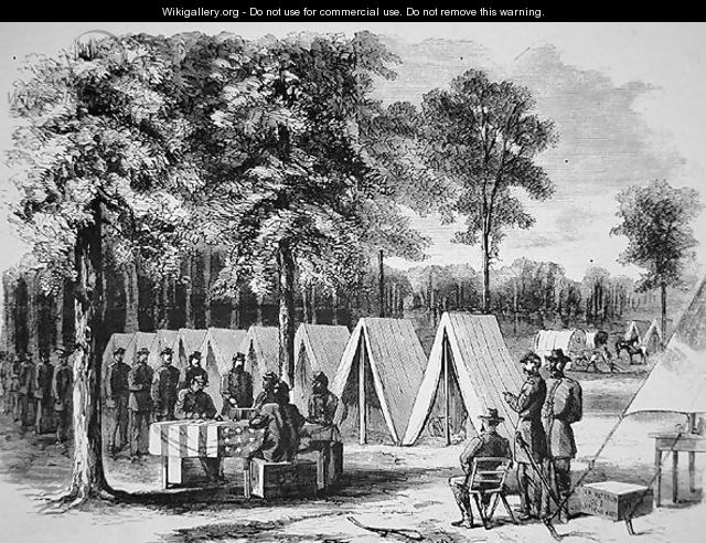 Pennsylvania soldiers voting at the Army of the James headquarters in September 1864, from Harpers Weekly, 29th October 1864 - Alfred R. Waud