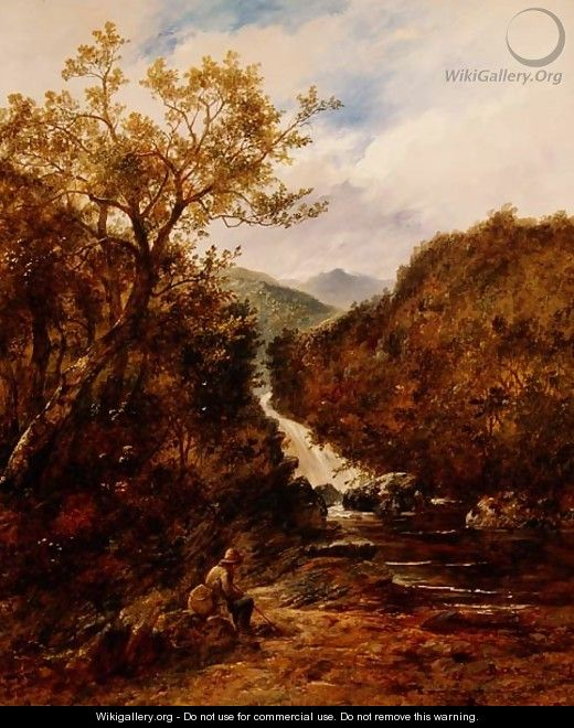 Angler by a Wooded Waterfall - James Charles Ward