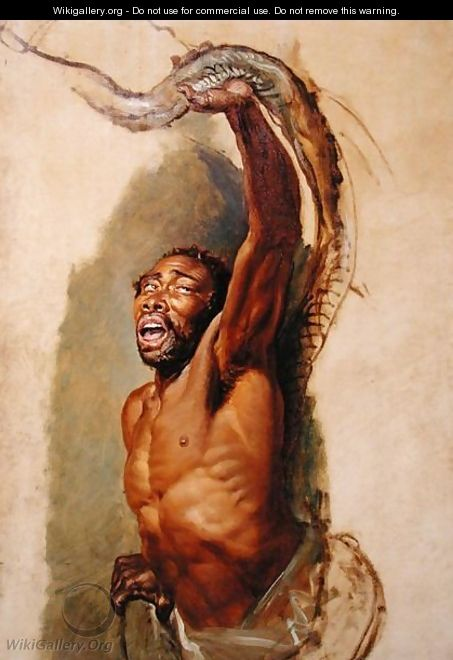 Man Struggling with a Boa Constrictor, Study for Liboya Serpent Seizing its Prey, c.1803 - James Ward