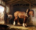 A groom with carthorse in a stable - James Ward