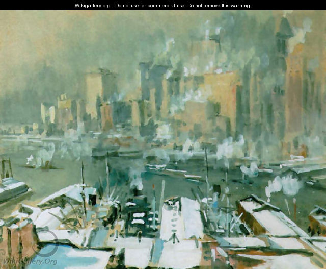 A view of New York City in winter - Joseph Pennell