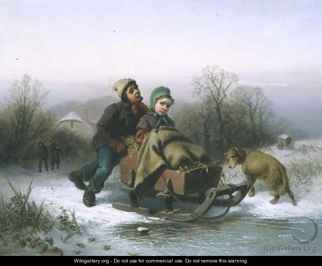 A Boy Pushing a Young Girl in a Sledge - Jan Walraven