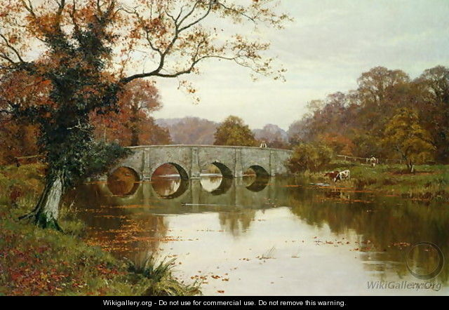 A Day in Late Autumn, Old Box Hill Bridge, Surrey - Edward Wilkins Waite