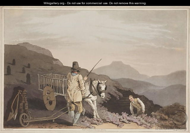 The Peat Cart, from The Costume of Yorkshire, engraved by Robert Havell, 1814 - (after) Walker, George
