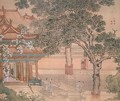 Building with figures from an album of Figures, Landscape and Architecture, 1740 - Yuan Yao