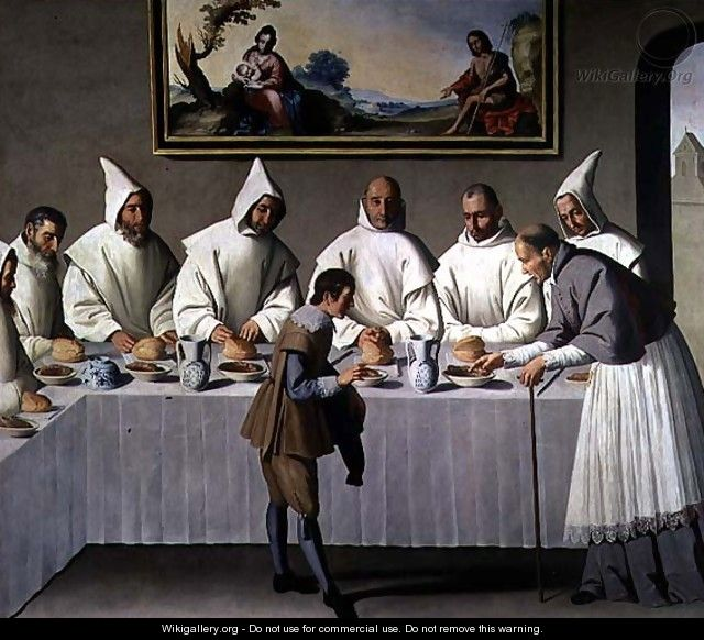 St. Hugh of Cluny (1024-1109) in the Refectory of the Carthusians, 1633 - Francisco De Zurbaran