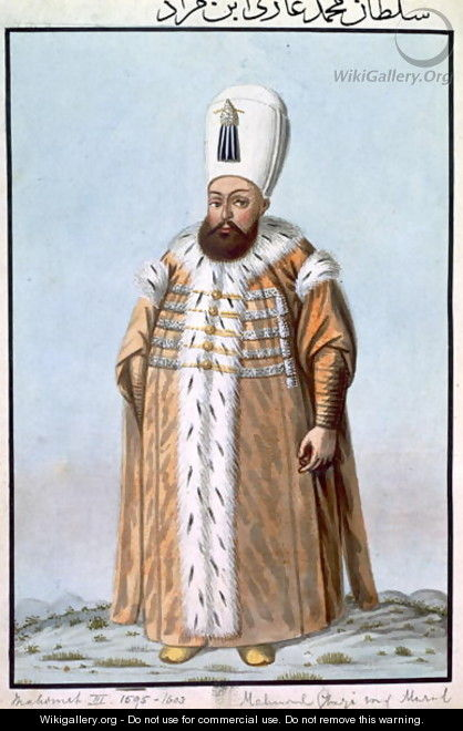 Mahomet (Mehmed) III (1566-1603) Sultan 1595-1603, from A Series of Portraits of the Emperors of Turkey, 1808 - John Young