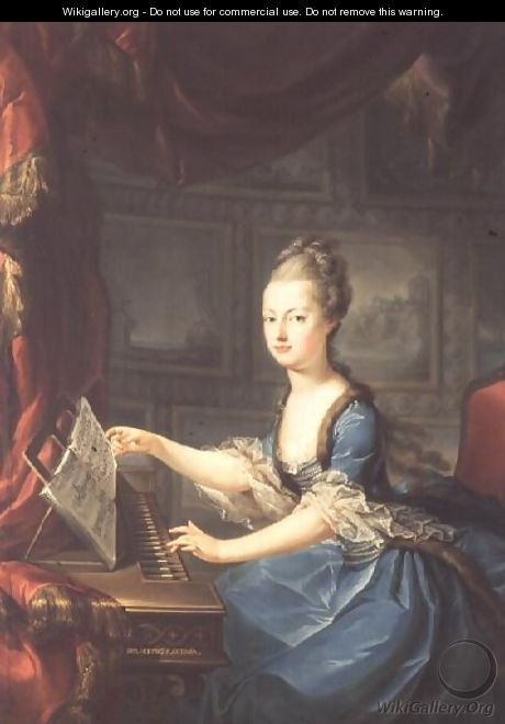 Archduchess Marie Antoinette Habsburg-Lothringen (1755-93) at the spinnet, fifteenth child of Empress Maria Theresa of Austria (1717-80) and Emperor Francis I (1708-65) wife of Louis XVI of France (1754-93) - Franz Xaver Wagenschon